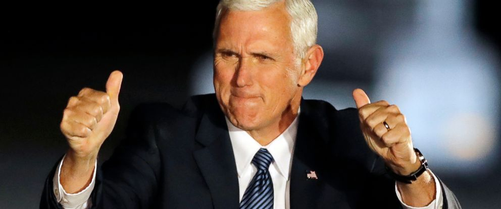 PHOTO: Vice President-elect Mike Pence reacts after speaking at a public rally, Nov. 10, 2016, in Indianapolis.