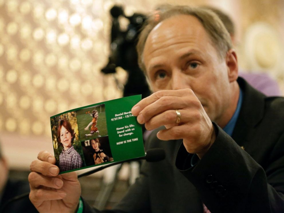 PHOTO: Mark Barden, a parent who lost his child, Daniel Barden, 7, in the Sandy Hook school shooting in Connecticut, testifies on assault weapon legislation at the Illinois State Capitol, May 20, 2013, in Springfield, Illinois.