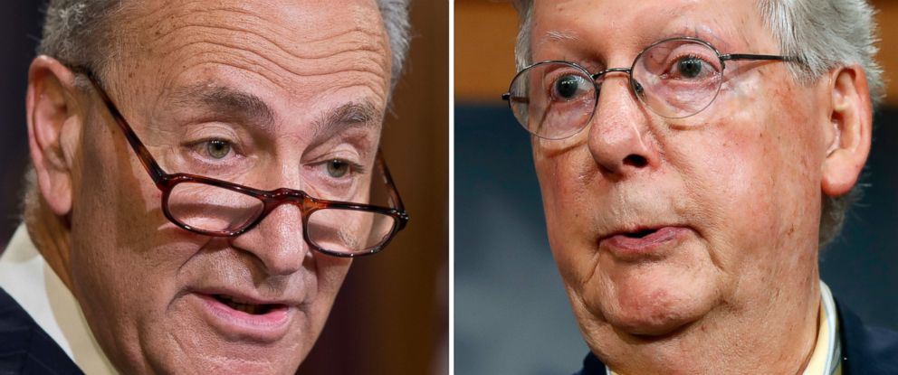 PHOTO: Sen. Charles Schumer, D-N.Y., left and Sen. Mitch McConnell of R-KY. right.