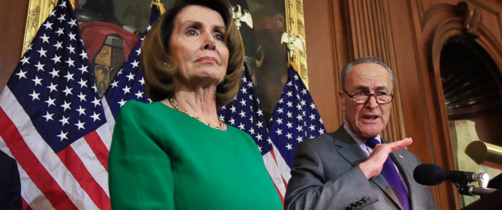 PHOTO: Senate Minority Leader Charles Schumer of N.Y., with House Minority Leader Nancy Pelosi of Calif., speaks to reporters about President Donald Trumps first 100 days, during a news conference on Capitol Hill in Washington, April 28, 2017.