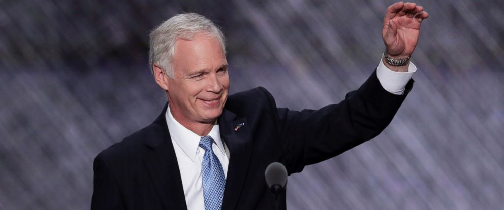 PHOTO: Sen. Ron Johnson, R-Wis., waves to the delegates during the second day of the Republican National Convention in Cleveland, July 19, 2016.