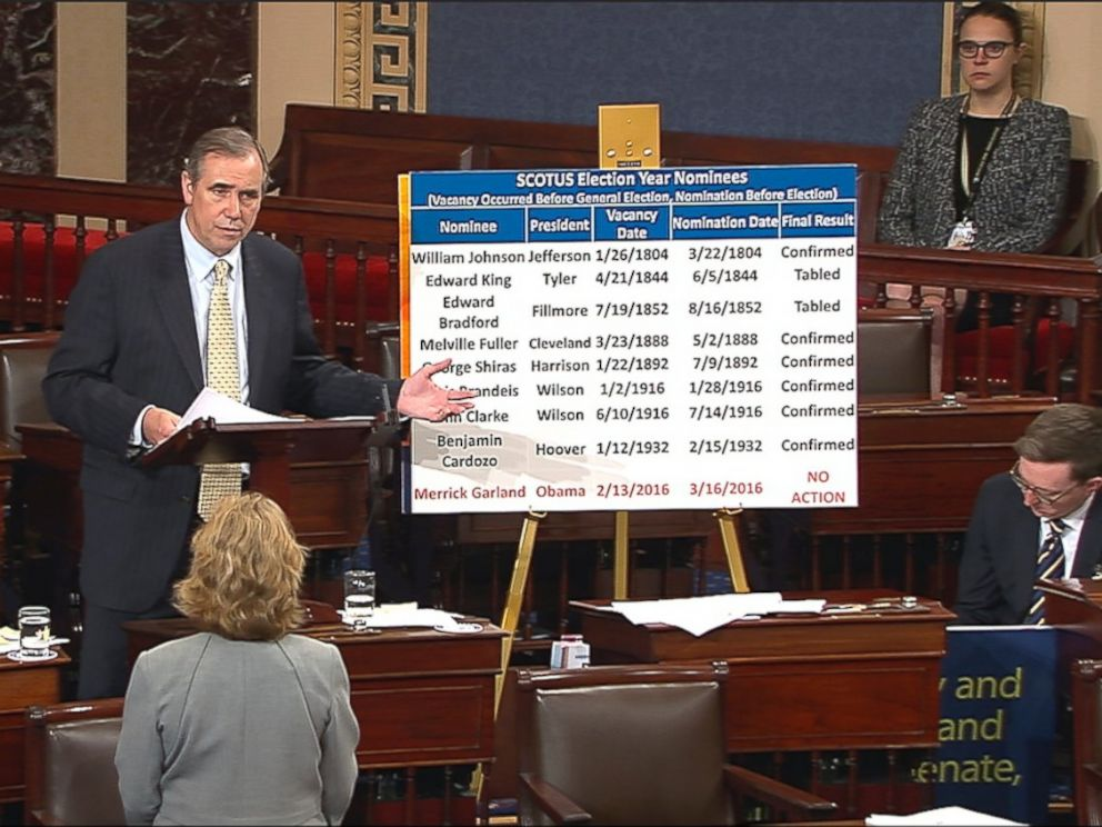 PHOTO: In this grab from video provided by Senate Television, Sen. Jeff Merkley, D-Ore. speaks on the floor of the Senate on Capitol Hill in Washington, April 5, 2017.