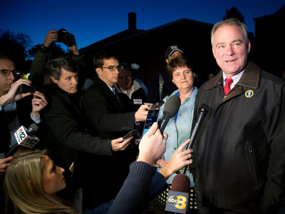PHOTO: Democratic vice presidential candidate U.S. Sen. Tim Kaine, D-Va., and his wife, Anne Holton, talk to the media after voting in Richmond, Virginia, Nov. 8, 2016.