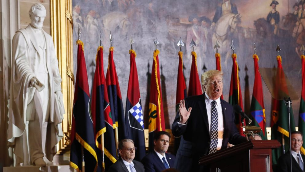 President Donald Trump speaks on Capitol Hill during the United States Holocaust Memorial Museum's National Days of Remembrance ceremony,April 25, 2017, in Washington.