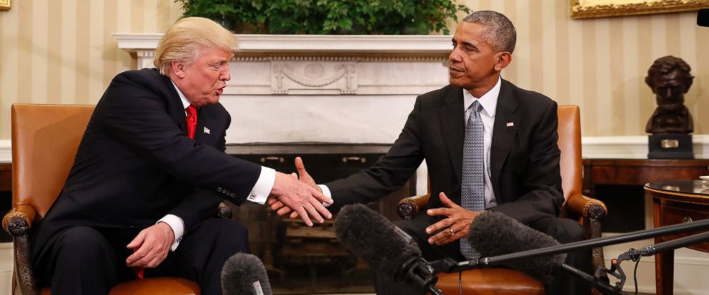 PHOTO: President Barack Obama shakes hands with President-elect Donald Trump in the Oval Office of the White House in Washington, Nov. 10, 2016.