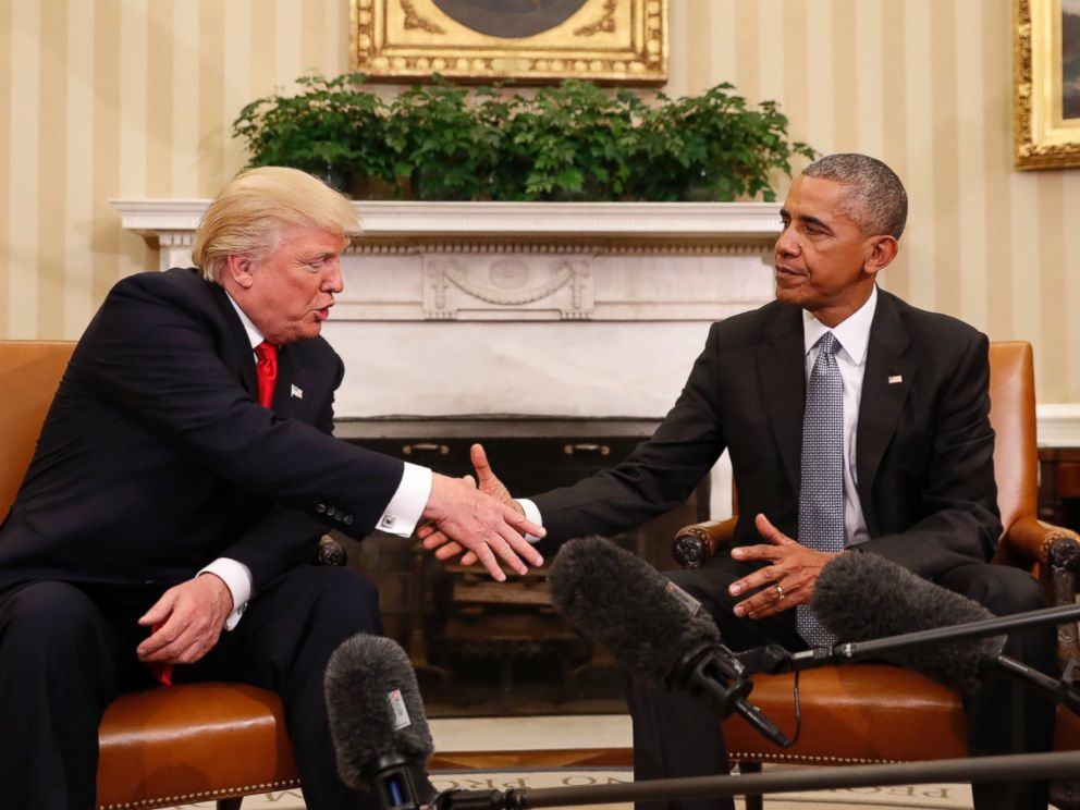 PHOTO: President Barack Obama shakes hands with President-elect Donald Trump in the Oval Office of the White House in Washington, D.C., Nov. 10, 2016.