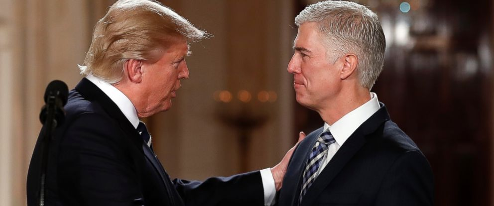 PHOTO: President Donald Trump shakes hands with 10th U.S. Circuit Court of Appeals Judge Neil Gorsuch in the East Room of the White House in Washington, Jan. 31, 2017.