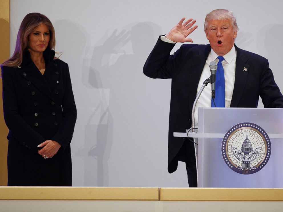 PHOTO: Melania Trump listens as her husband, President-elect Donald Trump speaks during the Leadership Luncheon at Trump International hotel in Washington, DC, Jan. 19, 2017.