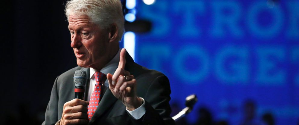 PHOTO: Former President Bill Clinton speaks at a rally as he campaigns for his wife, Democratic presidential candidate Hillary Clinton, in Denver, Nov. 4, 2016.