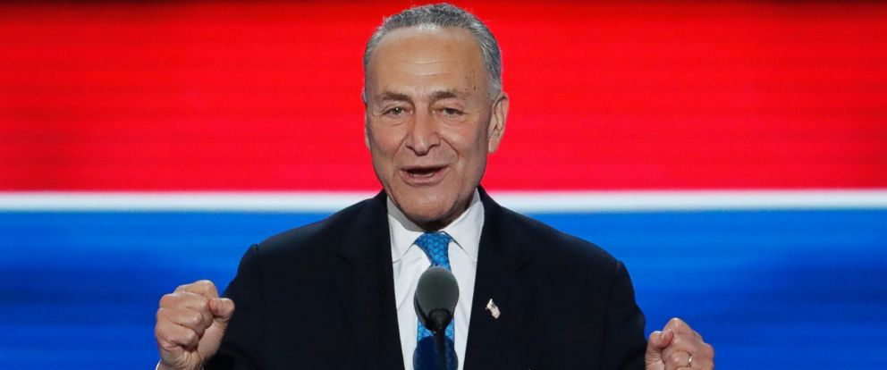 PHOTO: Sen. Chuck Schumer speaks during the second day of the Democratic National Convention in Philadelphia, July 26, 2016.
