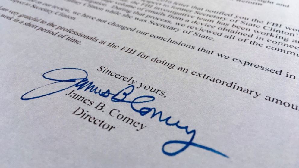 Part of a Nov. 6, 2016, letter from FBI director James Comey to Congress is photographed in Washington, Nov. 6, 2016.