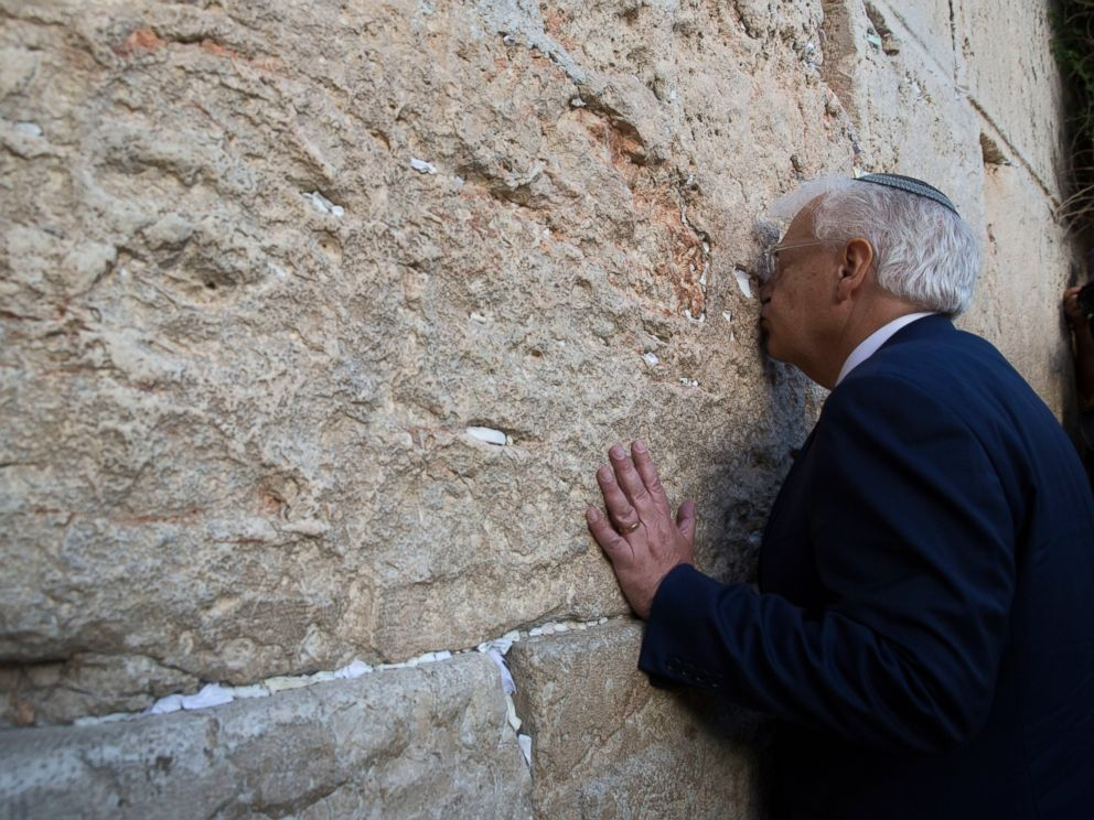 PHOTO: U.S. Ambassador to Israel David Friedman kisses the stones of the Western Wall, the holiest site where Jews can pray in Jerusalems Old City, May 15, 2017.