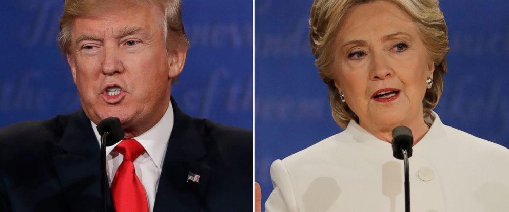PHOTO: (L-R) Republican presidential nominee Donald Trump and Democratic presidential nominee Hillary Clinton in Las Vegas, Oct. 19, 2016.