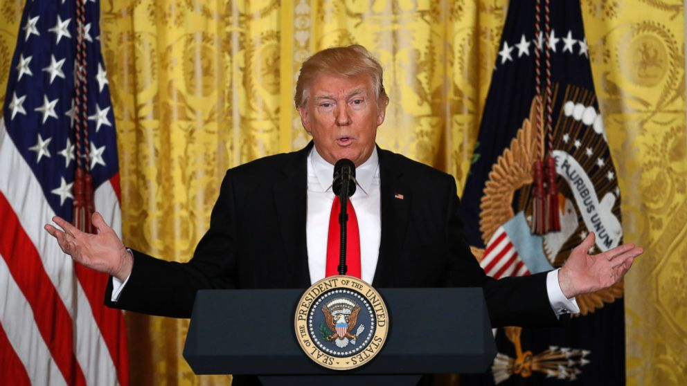 President Donald Trump speaks during a news conference, Feb. 16, 2017, in the East Room of the White House in Washington.