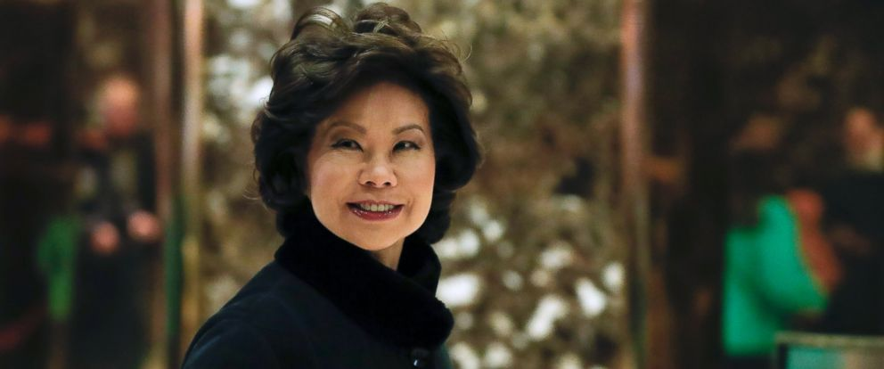 PHOTO: Former Labor Secretary Elaine Chao arrives at Trump Tower, Nov. 21, 2016 in New York, to meet with President-elect Donald Trump.
