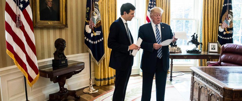 PHOTO: President Donald Trump speaks to White House senior adviser Jared Kushner, left, in the Oval Office in Washington, April 21, 2017.