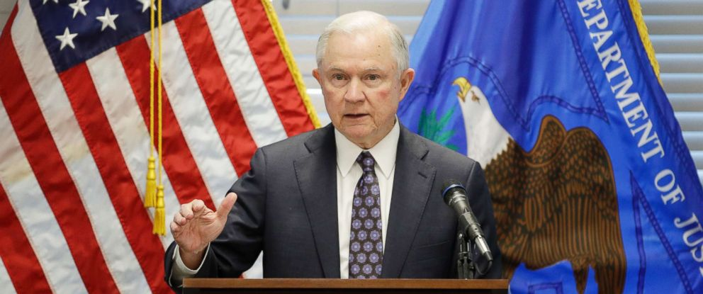 PHOTO: Attorney General Jeff Sessions delivers a speech, July 12, 2017, in Las Vegas.