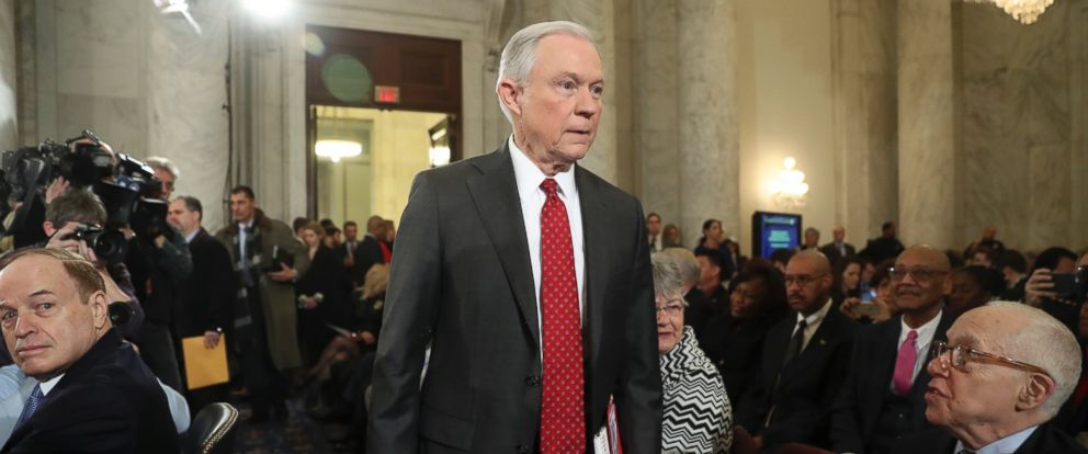 PHOTO: Attorney General-designate, Sen. Jeff Sessions, arrives on Capitol Hill in Washington, Jan. 10, 2017, to testify at his confirmation hearing before the Senate Judiciary Committee.