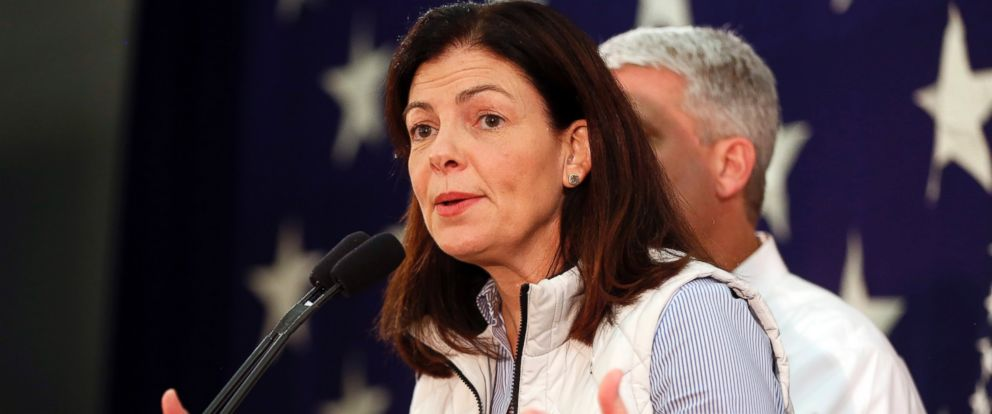 PHOTO: Republican U.S. Sen. Kelly Ayotte thanks supporters, Nov. 9, 2016, after telling them her race with Democratic challenger for Senate, Gov. Maggie Hassan was too close to call in Concord, N.H.