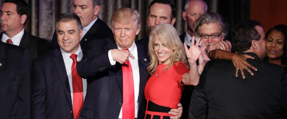 PHOTO: President-elect Donald Trump and campaign manager Kellyanne Conway celebrate during an election night rally, Nov. 9, 2016, in New York.