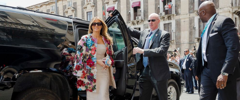 PHOTO: First lady Melania Trump arrives at the City Hall, Palazzo degli Elefanti, in the Sicilian town of Catania, Italy, May 26, 2017.
