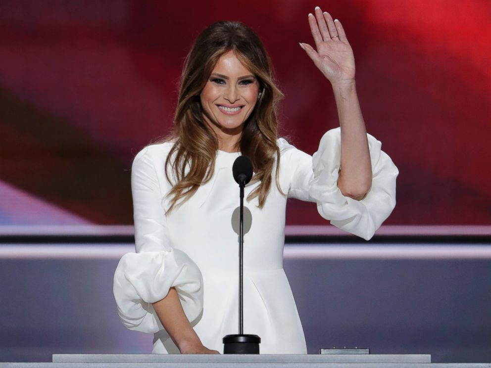 PHOTO: Melania Trump, wife of Donald Trump, waves as she speaks during the opening day of the Republican National Convention in Cleveland, July 18, 2016.