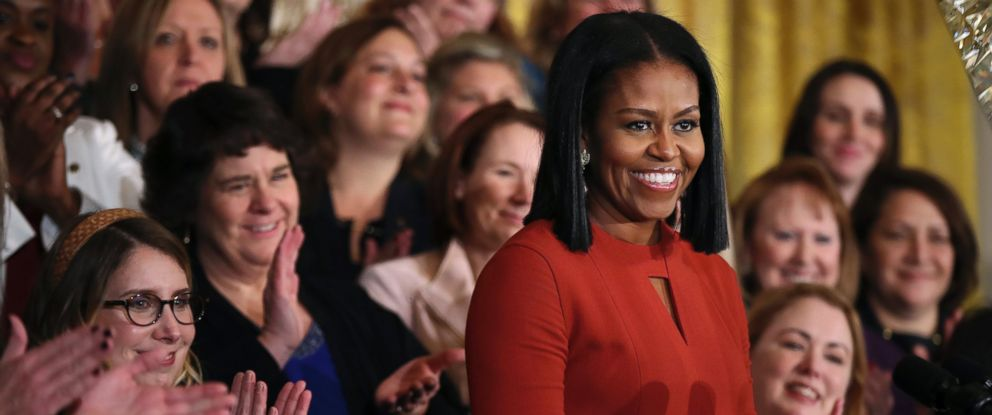 PHOTO: First lady Michelle Obama smiles as she speaks at the 2017 School Counselor of the Year ceremony in the East Room of the White House in Washington, Jan. 6, 2017.
