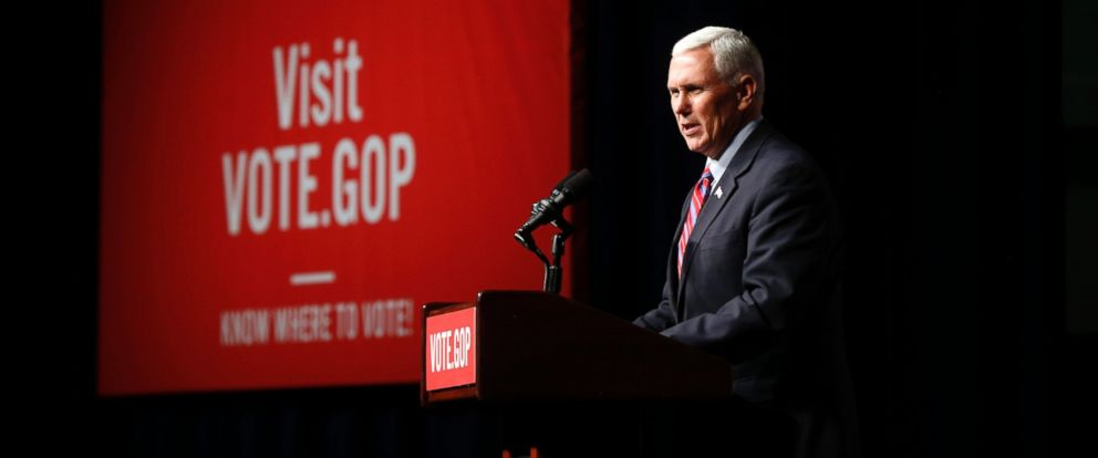"""PHOTO: Vice President-elect Mike Pence speaks at a """"Get Out The Vote"""" rally to stump for Republican senate candidates in New Orleans, Dec. 3, 2016."""