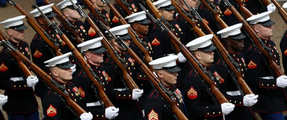 PHOTO: Military units march during the 58th presidential inauguration parade for President Donald Trump in Washington, Jan. 20, 2017.