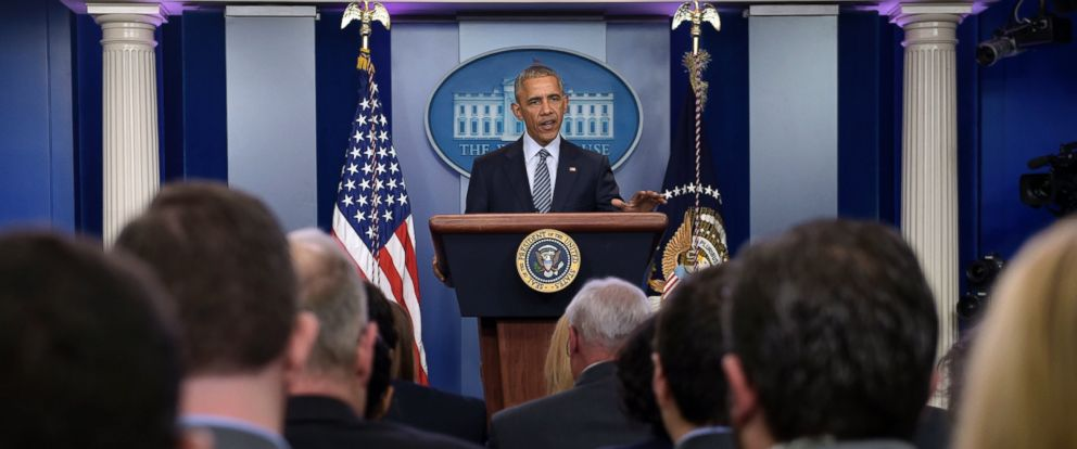 PHOTO: President Barack Obama speaks during a news conference in the Brady press briefing room at the White House in Washington, Nov. 14, 2016.