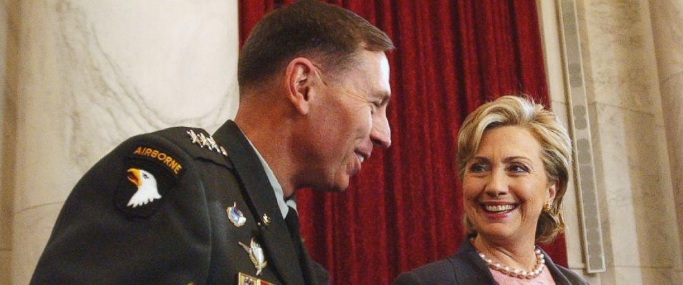 PHOTO: Hillary Clinton talks with David Petraeus on Capitol Hill in Washington, Jan. 23, 2007.