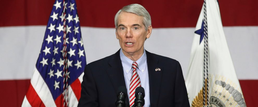 PHOTO: Sen. Rob Portman speaks before Vice President Mike Pence at DynaLab, Inc., April 1, 2017, in Reynoldsburg, Ohio.