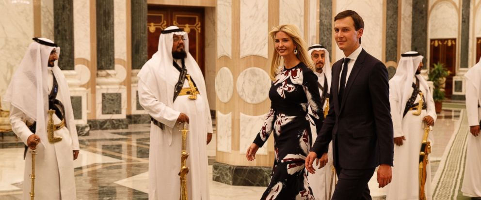 PHOTO: White House senior adviser Jared Kushner, right, walks with Ivanka Trump at the Royal Court Palace, Saturday, May 20, 2017, in Riyadh.