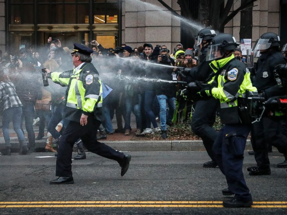 PHOTO: Police fire pepper spray on protesters during a demonstration after the inauguration of President Donald Trump, Jan. 20, 2017, in Washington.
