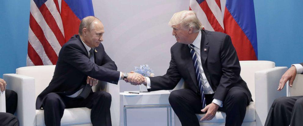 PHOTO: President Donald Trump shakes hands with Russian President Vladimir Putin at the G20 Summit, July 7, 2017, in Hamburg, Germany.