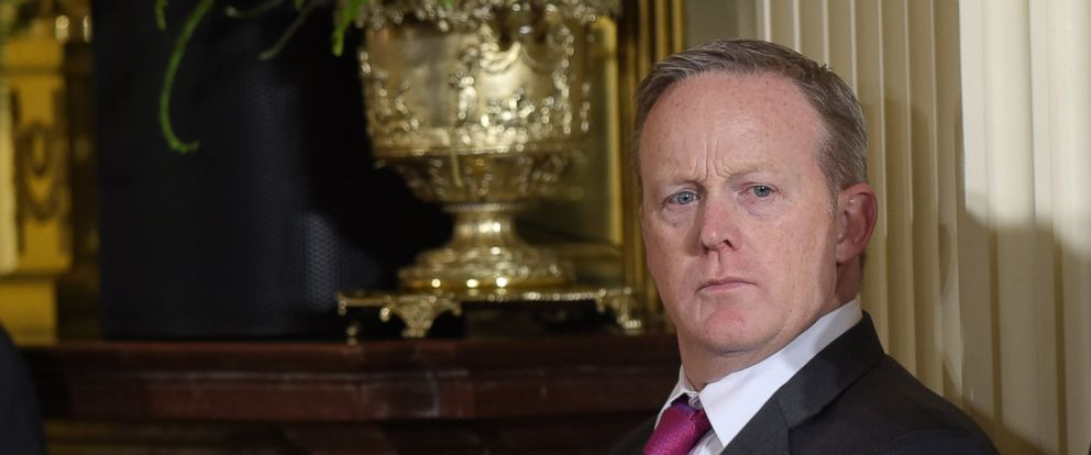 PHOTO: White House Press Secretary Sean Spicer waits for the start of a news conference with President Donald Trump and Colombian President Juan Manuel Santos in Washington, May 18, 2017.