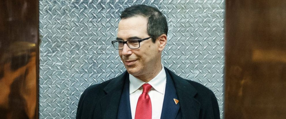 PHOTO: Steven Mnuchin, President-elect Donald Trumps nominee for Treasury Secretary, gets on an elevator after speaking with reporters in the lobby of Trump Tower, Nov. 30, 2016, in New York.