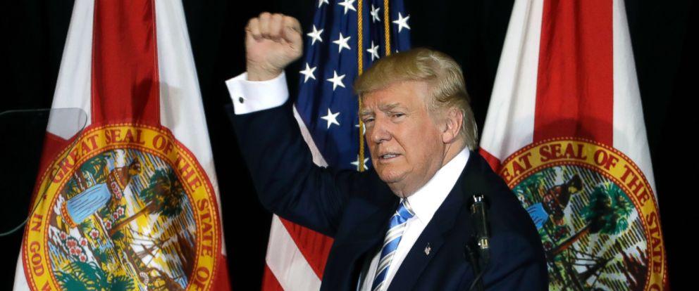 PHOTO: Donald Trump pumps his fist after a campaign speech, Nov. 7, 2016, in Sarasota, Florida.