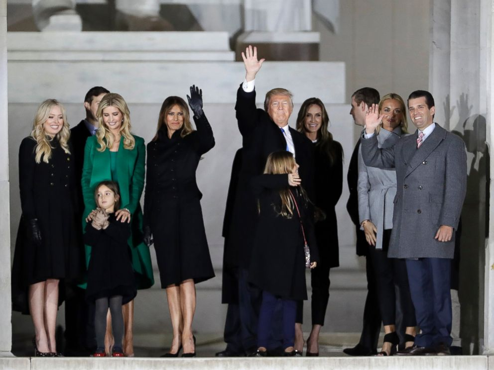 PHOTO: President-elect Donald Trump and his wife Melania Trump stand with family at a pre-Inaugural Make America Great Again! Welcome Celebration at the Lincoln Memorial in Washington, Jan. 19, 2017.