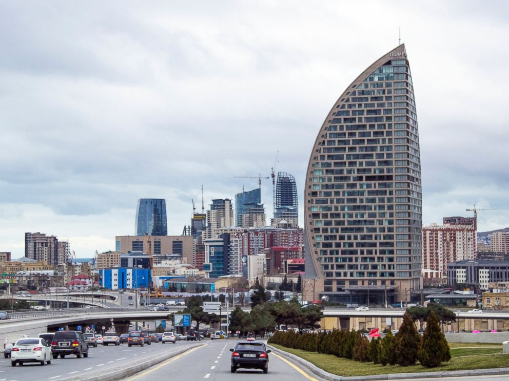 PHOTO: The Trump International Hotel, the highest building, is seen in Baku, Azerbaijan, Feb. 19, 2016.