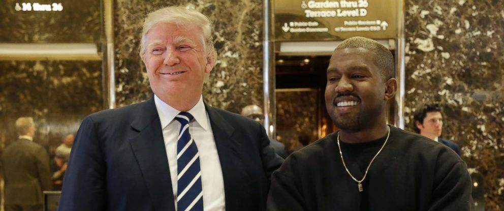 PHOTO: President-elect Donald Trump and Kanye West pose for a picture in the lobby of Trump Tower in New York, Dec. 13, 2016.