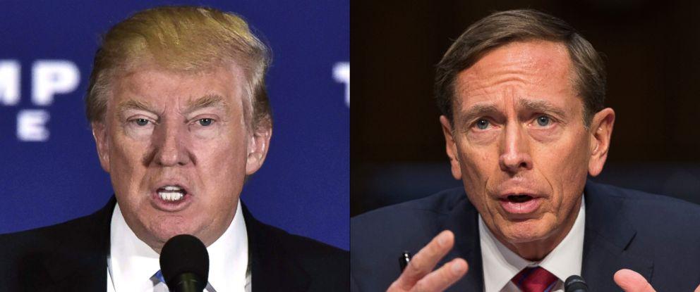 PHOTO: Donald Trump is seen here, Nov. 28, 2016. | David Petraeus is seen here on Capitol Hill, Sept. 22, 2015.