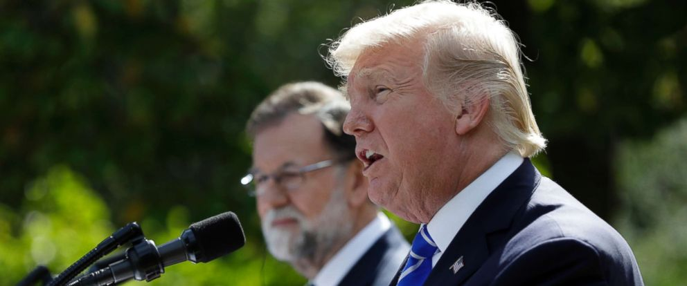 PHOTO: President Donald Trump speaks in the Rose Garden during a news conference with Spanish Prime Minister Mariano Rajoy at the White House, Sept. 26, 2017, in Washington, D.C.