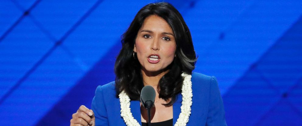 PHOTO: Rep. Tulsi Gabbard, D-Hawaii speaks at the Democratic National Convention in Philadelphia.