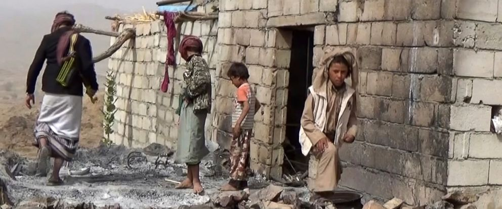 PHOTO: Residents inspect a house that was damaged during a Jan. 2017 U.S. raid on the tiny village of Yakla, in central Yemen.