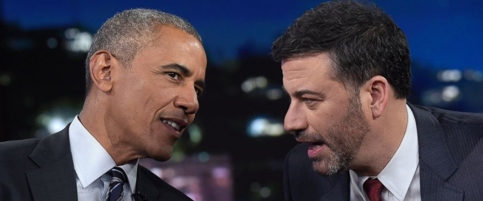 PHOTO: President Barack Obama talks with Jimmy Kimmel in between taping segments of Jimmy Kimmel Live! at the El Capitan Entertainment Center in Los Angeles, Monday, Oct. 24, 2016.