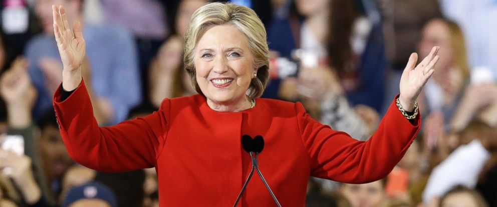 PHOTO: Democratic presidential candidate Hillary Clinton reacts to the audience during a campaign rally in Raleigh, N.C., Tuesday, Nov. 8, 2016.
