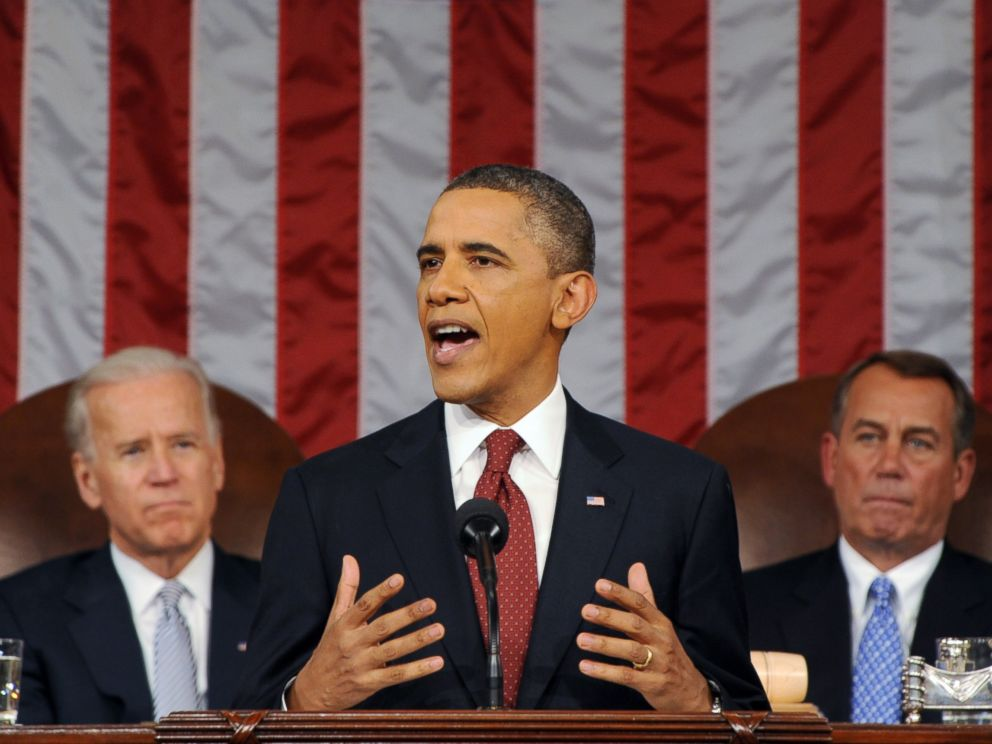 PHOTO: President Barack Obama delivers his State of the Union address on Capitol Hill in Washington, Jan. 24, 2012.