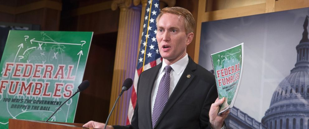 """PHOTO: Sen. James Lankford holds a news conference on Capitol Hill in Washington, Nov. 30, 2015, to announce the release of his federal government waste and solutions report titled """"Federal Fumbles: 100 Ways the Government Dropped the Ball."""""""