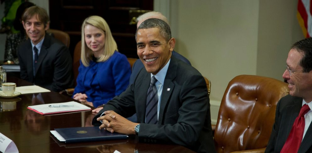 PHOTO: President Barack Obama meets with technology executives in Washington, Dec. 17, 2013. From left are, Mark Pincus, founder and Chairman, Zynga; Marissa Mayer, President and CEO, Yahoo!, Obama, and Randall Stephenson, Chairman & CEO, AT&T.